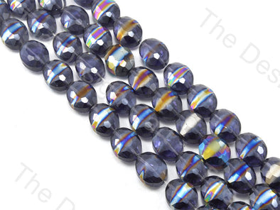 Oval Abstract Blue Transparent Rainbow Designer beads