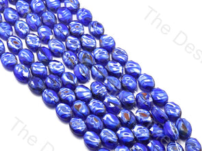 Oval Abstract Blue Opaque Designer beads