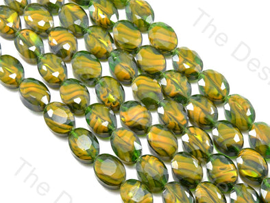 Oval Abstract Green Opaque Designer beads