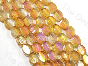 Oval Cross Cut Golden Transparent Designer beads