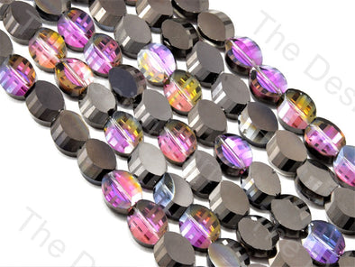 Oval Cross Cut Black Transparent Rainbow Designer beads