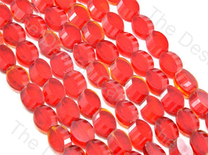 Oval Cross Cut Red Transparent Designer beads