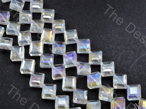 Square White Transparent Rainbow Designer beads