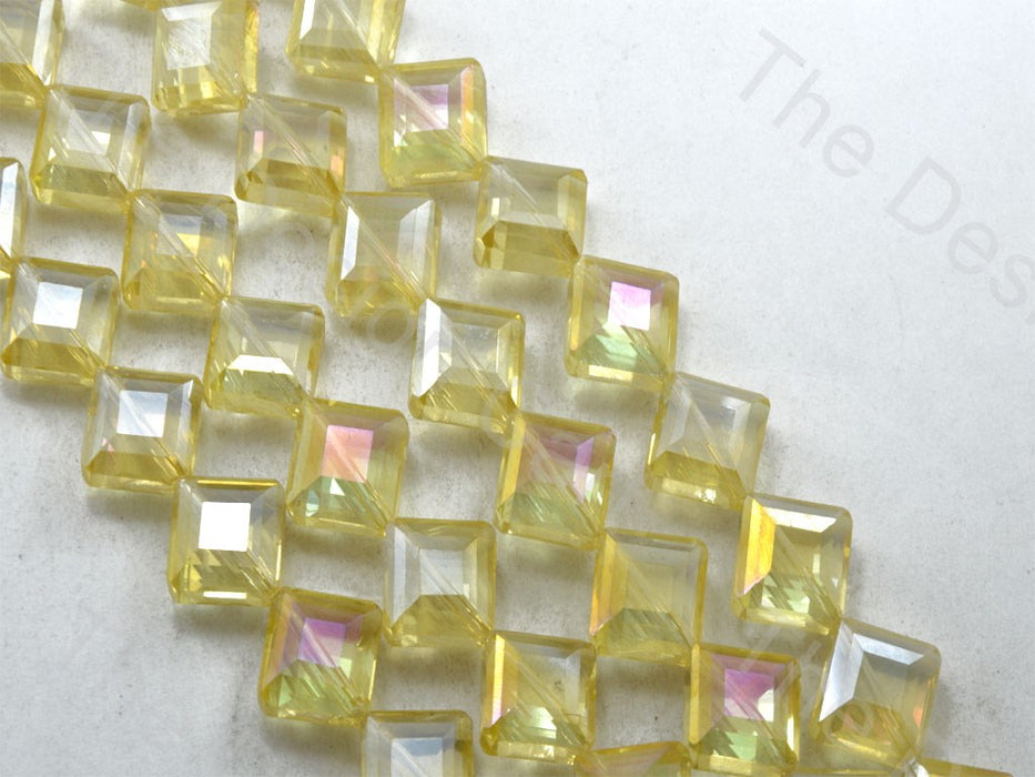 Square Yellow Transparent Rainbow Designer beads