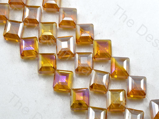 Square Brown Transparent Rainbow Designer beads