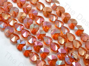 Heart Orange Transparent Rainbow Designer beads