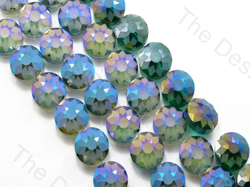 Flower Dark Green Rainbow Designer Beads