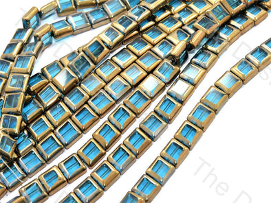 Aqua Blue Golden Border Designer Beads