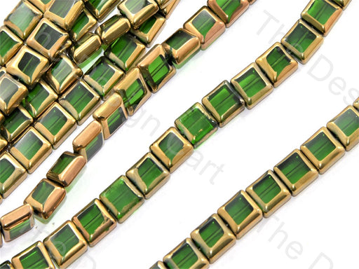 Green Golden Border Designer Beads