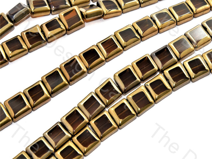 Brown Golden Border Designer Beads | The Design Cart