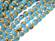 Aqua Blue Golden Dual Circular Designer Beads | The Design Cart