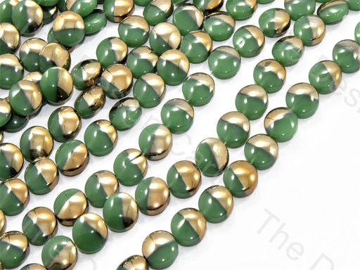 Green Golden Dual Circular Designer Beads