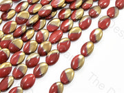 Red Golden Dual Oval Designer Beads | The Design Cart