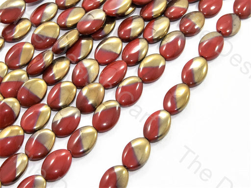 Red Golden Dual Oval Designer Beads