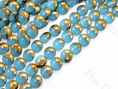 Aqua Blue Golden Dual Oval Designer Beads
