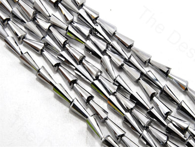 SIlver Metallic Conical Crystal Beads