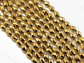 Golden Metallic Drop / Briolette Crystal Beads