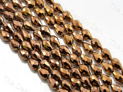 Copper Metallic Drop / Briolette Crystal Beads