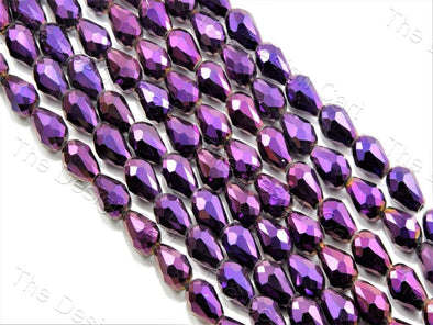 Purple Metallic Drop / Briolette Crystal Beads