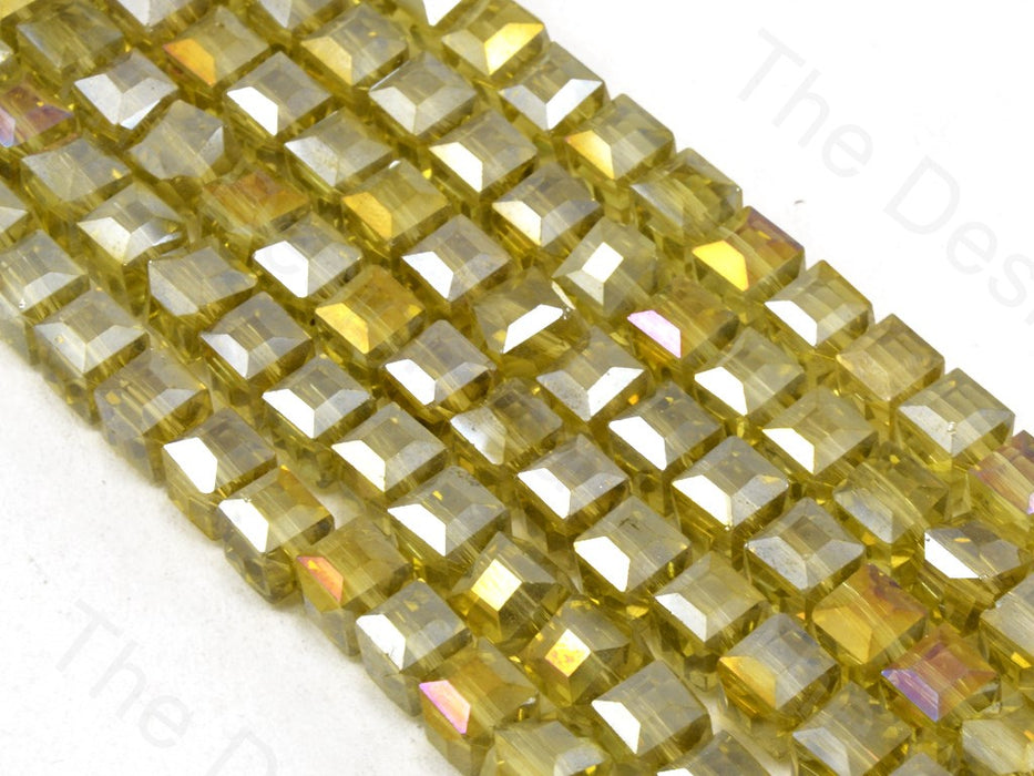 Yellow Transparent Rainbow Cubic Crystal Beads