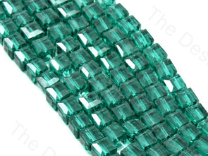 Sea Green Transparent Cubic Crystal Beads