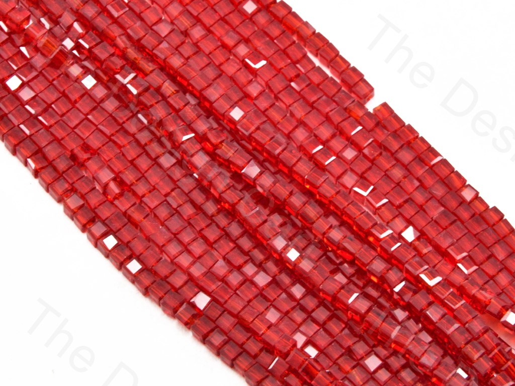 Red Transparent Cubic Crystal Beads