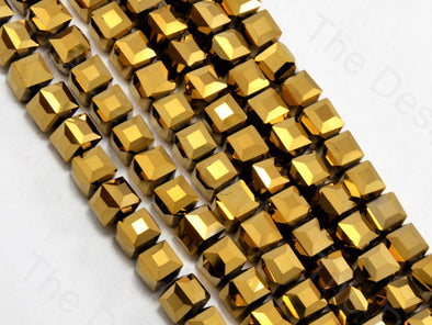 Golden Metallic Cubic Crystal Beads