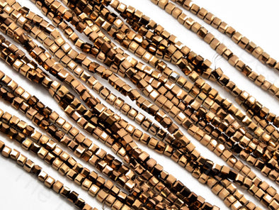Copper Metallic Cubic Crystal Beads