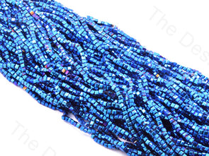 Blue Metallic Cubic Crystal Beads