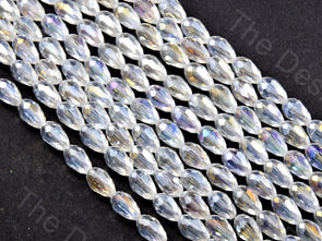 White / Crystal Transparent Rainbow Drop / Briolette Crystal Beads