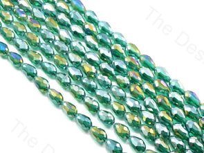 Sea Green Transparent Rainbow Drop / Briolette Crystal Beads
