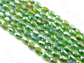 Peridot / Olive Green Transparent Rainbow Drop / Briolette Crystal Beads