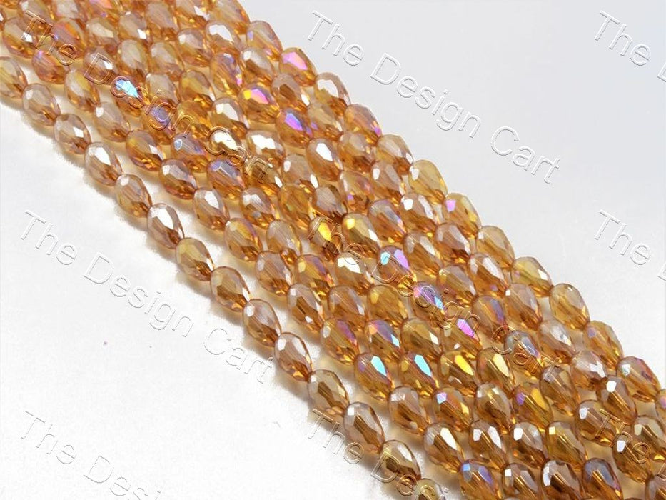 Brown / Topaz Transparent Drop / Briolette Crystal Beads