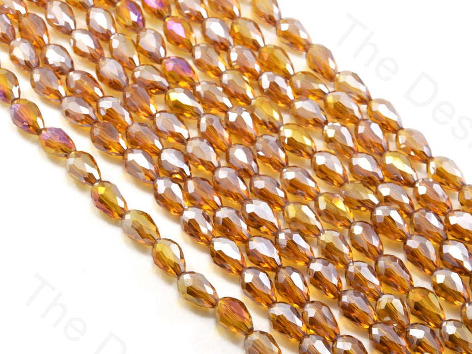 Brown / Topaz Transparent Rainbow Drop / Briolette Crystal Beads
