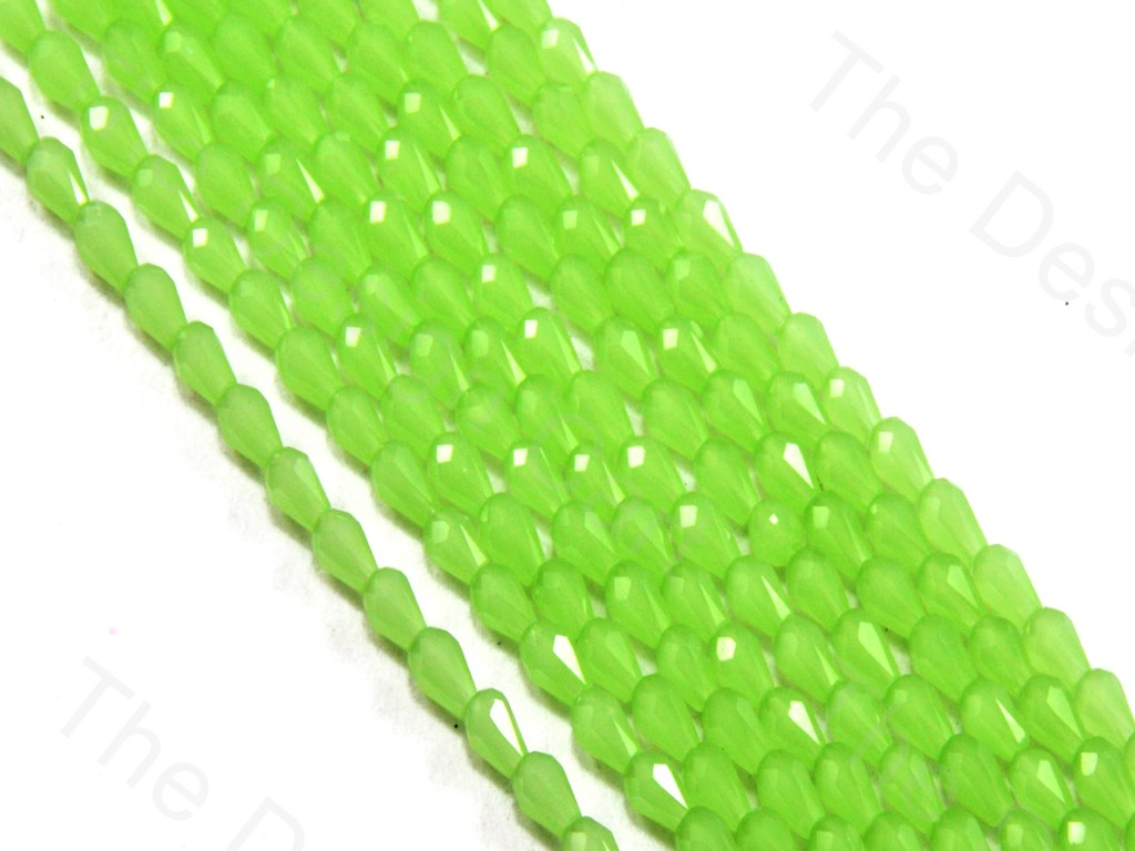 Light Green Opaque Drop / Briolette Crystal Beads