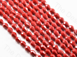 Red Opaque Drop / Briolette Crystal Beads