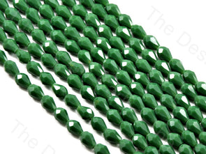 Green Opaque Drop / Briolette Crystal Beads