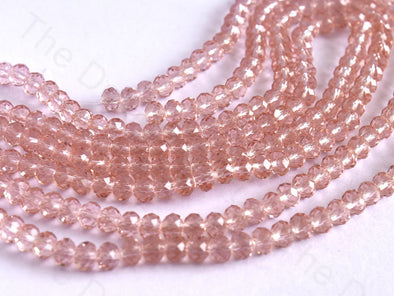 Light Pink Transparent Rondelle / Tyre Faceted Crystal Beads