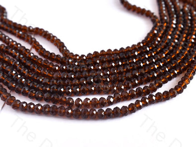Dark Brown Transparent Rondelle / Tyre Faceted Crystal Beads