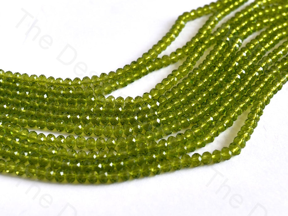 Peridot / Olive Green Transparent Rondelle / Tyre Faceted Crystal Beads