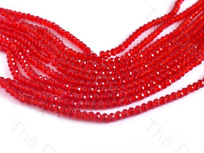 Red Transparent Rondelle / Tyre Faceted Crystal Beads