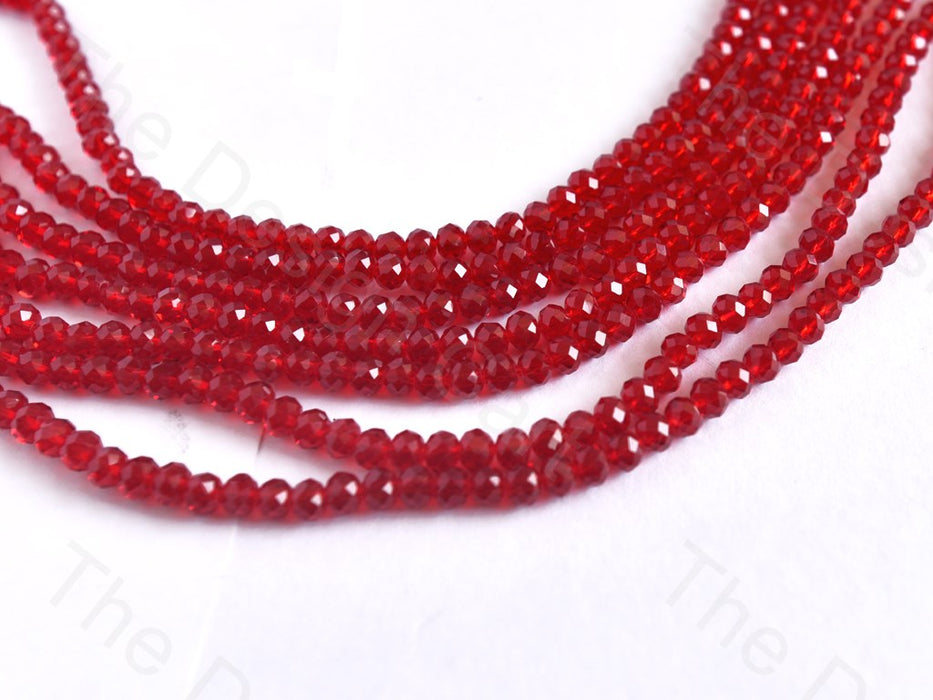 Dark red Transparent Rondelle / Tyre Faceted Crystal Beads