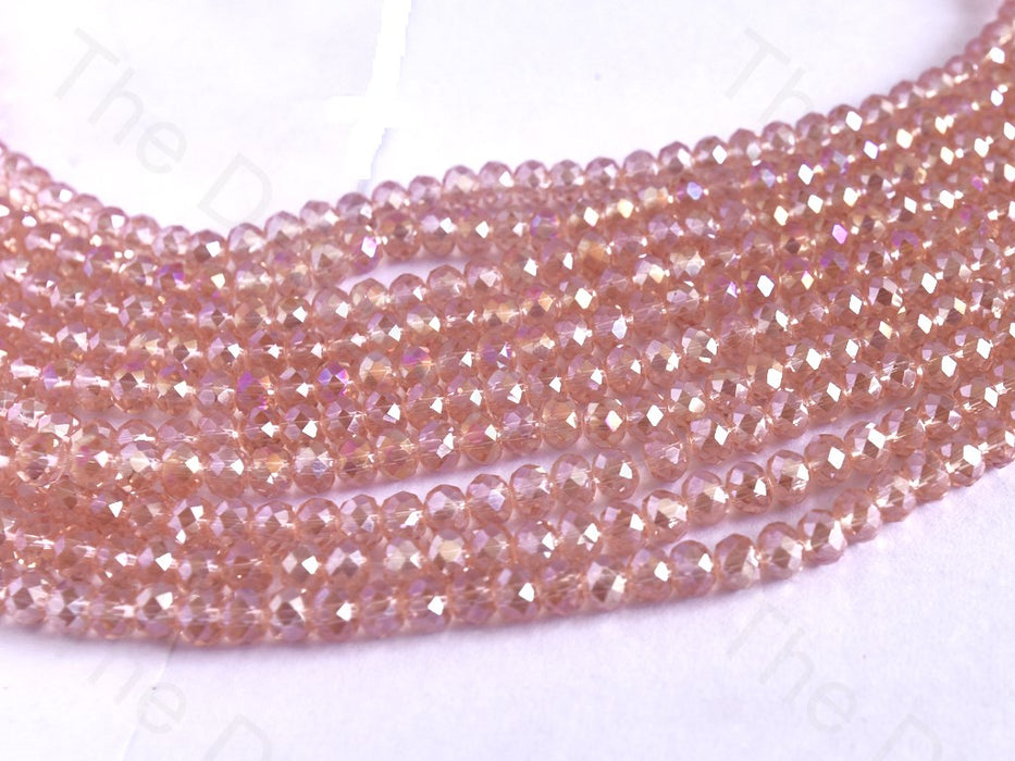 Light Pink Rainbow Rondelle / Tyre Faceted Crystal Beads