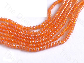 Light Orange Rainbow Rondelle / Tyre Faceted Crystal Beads