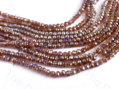Smoke Topaz Rainbow Rondelle / Tyre Faceted Crystal Beads