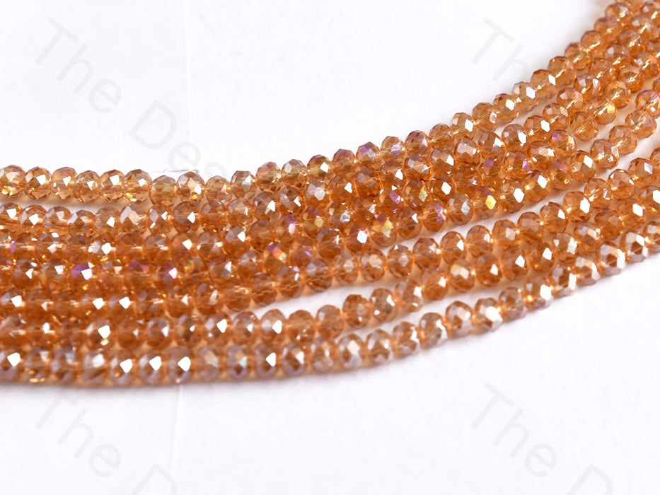 Champagne Golden Rainbow Rondelle / Tyre Faceted Crystal Beads