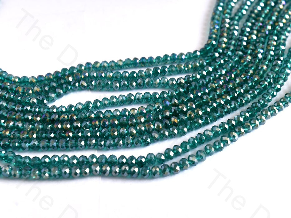 Sea Green Rainbow Rondelle / Tyre Faceted Crystal Beads