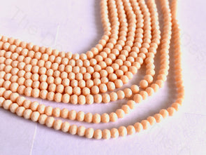 Peach Opaque Rondelle / Tyre Faceted Crystal Beads