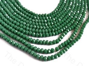 Green Opaque Rondelle / Tyre Faceted Crystal Beads