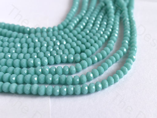 Light Sea Green Opaque Rondelle / Tyre Faceted Crystal Beads